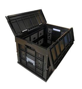 松本産業 業務用 オリコン 折りたたみコンテナ 50L ブラック 網目 (F50ABL) フタ一体型 カード差し付き