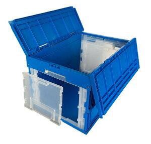 松本産業 オリコン 業務用折りたたみコンテナ 50L ブルー (DWF50B) フタ一体型 前後2面窓付き カード差し付き