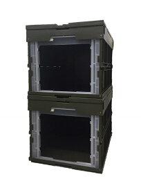 松本産業 業務用折りたたみコンテナ 50L フタ一体型 1面窓付き シェルフ使い 2個入り カーキ (CWF50G/2個) カード差し付き ミリタリー調ボックス