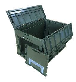 松本産業 折りたたみコンテナ 業務用 50L(CWGF50G) カーキ フタ一体型 1面窓付き カード差し付き ミリタリー調