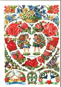 ドイツ製 クロモス☆素敵なバラのハートリース 花柄☆(Blumenbogen mit Herz)デコパージュ コラージュ スクラップピクチャー ダイカット エンボス アンティーク