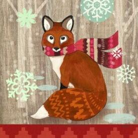 PPD 可愛いペーパーナプキン デコパージュ☆クリスマス キツネ 冬 マフラー ☆(Fox with Scarf)(1枚/バラ売り)