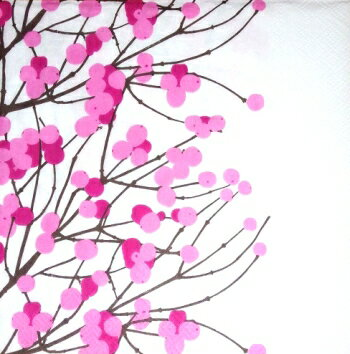 marimekko マリメッコ 可愛い ペーパーナプキン デコパージュ☆LUMIMARJA white pink☆(1枚/バラ売り)