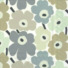 marimekko マリメッコ 可愛い ペーパーナプキン デコパージュ☆MINI UNIKOT linen ミニ ウニコト ホワイト ベージュ 小さなケシの花☆(20枚入り)