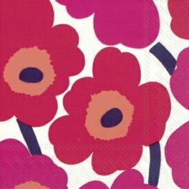 marimekko マリメッコ 可愛い ペーパーナプキン デコパージュ☆UNIKKO red ウニッコ レッド 赤 ケシの花☆(20枚入り)