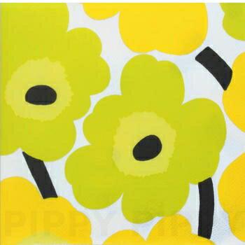 marimekko マリメッコ 可愛い ペーパーナプキン デコパージュ☆UNIKKO yellow☆(1枚/バラ売り)