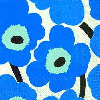 marimekko マリメッコ 可愛い ペーパーナプキン デコパージュ☆ウニッコ ブルー UNIKKO blue☆(バラ売り/1枚)