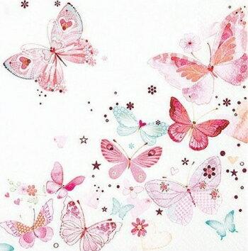 ドイツ製の可愛い4つ折りペーパーナプキン☆可愛い ちょうちょう柄 蝶々☆(Lovely Butterflies)(1枚/バラ売り)