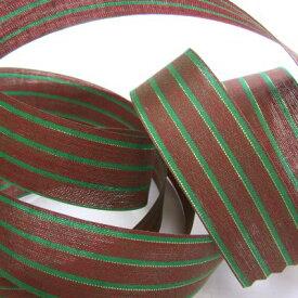 タータン リボン ( 24ミリ幅 ) 赤/グリーン