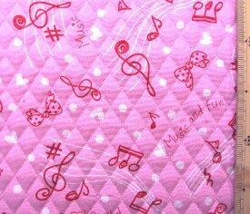 Q-プリント キルティング ( キルト ) 生地 ピアノクラブ ( ピンク ) ( 音符 音楽 リボン かわいい おしゃれ 男の子 女の子 子供 入園 入学 )