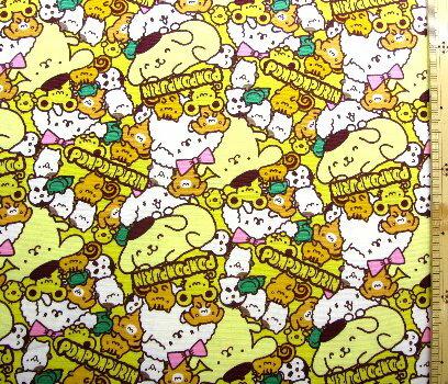 <キャラクター生地・布>ポムポムプリン(イエロー)#6【キャラクター】【生地】【布】【キャラクター生地】【入園】【入学】