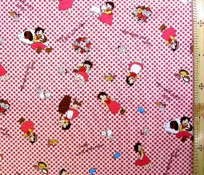 巾着袋(材料セット)・レシピ付き アルプスの少女ハイジ(チェック・赤)#5【体操服入れ・給食袋・お弁当袋・コップ袋が各1個(合計4個)作れます】( キャラクター 生地 材料キット )【ゆうパケット(メール便)OK】