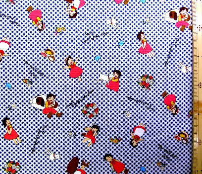 巾着袋(材料セット)・レシピ付き アルプスの少女ハイジ(チェック・紺)#5【体操服入れ・給食袋・お弁当袋・コップ袋が各1個(合計4個)作れます】( キャラクター 生地 材料キット )【ゆうパケット(メール便)OK】