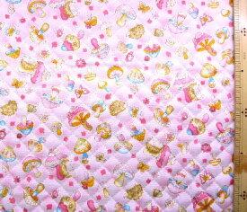 Q-プリント キルティング ( キルト ) 生地 キノコとハリねずみ ( ピンク ) ( きのこ ハリネズミ 蝶々かわいい おしゃれ 男の子 女の子 子供 入園 入学 )