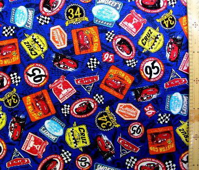 <キャラクター生地・布>Cars(カーズ)(紺)#28・ディズニー【キャラクター】【生地】【布】【キャラクター生地】