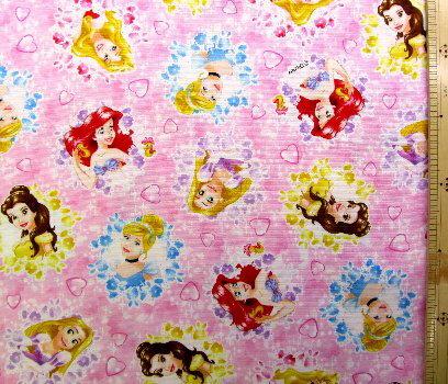 <キャラクター生地・布>ディズニープリンセス(ピンク)#57【ディズニー】【生地】【布】【キャラクター生地】【入園】【入学】