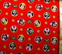 <キャラクター生地 USAコットン・直輸入正規ライセンス品>スーパーマリオ(赤)#13【キャラクター】【生地】【布】…