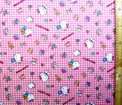 巾着袋(材料セット)・レシピ付き キティ(ピンクチェック)#221【体操服入れ・給食袋・お弁当袋・コップ袋が各1個(合計4個)作れます】( キャラクター 生地 材料キット )【ゆうパケット(メール便)OK】