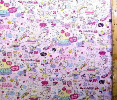 <キャラクター生地・布>キティ(ピンク/ピンク)#225【キャラクター】【生地】【布】【キャラクター生地】【入園】【入学】