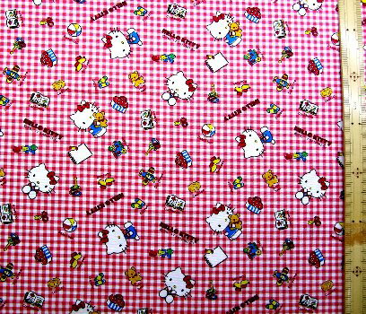 巾着袋(材料セット)・レシピ付き キティ(赤チェック)#221【体操服入れ・給食袋・お弁当袋・コップ袋が各1個(合計4個)作れます】( キャラクター 生地 材料キット )【ゆうパケット(メール便)OK】