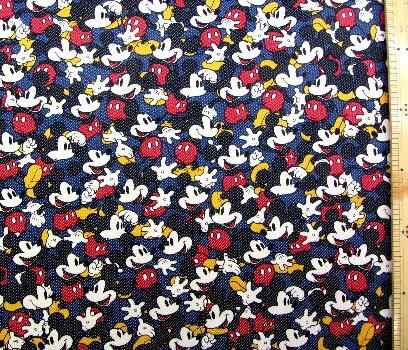 <キャラクター生地・布>ミッキーマウス(紺)#84ディズニー【入園】【入学】