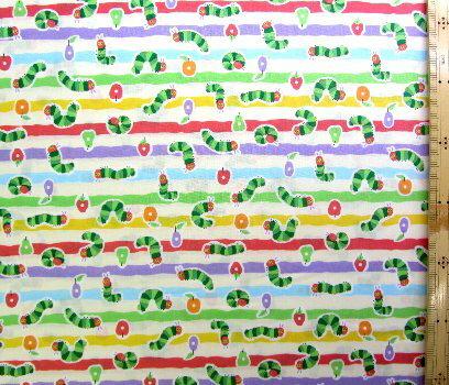 巾着袋(材料セット)・レシピ付き はらぺこあおむし(エリック・カール)(パステル)#22【体操服入れ・給食袋・お弁当袋・コップ袋が各1個(合計4個)作れます】( キャラクター 生地 材料キット )【ゆうパケット(メール便)OK】