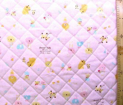 <Qキャラクター・キルティング生地>Anano Cafe〜アナノカフェ〜(ピンク)#2【キルティング】【キルト】【キャラクター】【キルティング生地】【布】【入園】【入学】