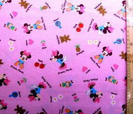 巾着袋(材料セット)・レシピ付き ミニーマウス(ピンク)7【体操服入れ・給食袋・お弁当袋・コップ袋が各1個(合計4個)作れます】( キャラクター 生地 材料キット )【メール便(ゆうパケット)OK】