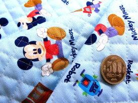 Q- キルト - キャラクター キルティング 生地 お手軽セット はぎれ 40cm ミッキーマウス(ブルー)7・ディズニー