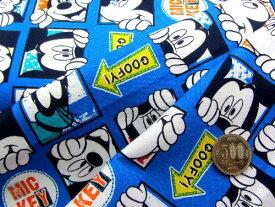 生地キャラクター はぎれ カットクロス ハギレ 40cm ミッキーマウス(ブルー)#88 ディズニー ( 2018 -2019 ) クラフトシリーズ
