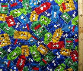 スヌーピー(紺)#106(材料セット レシピ付き・キルティング)レッスンバック(またはピアニカケース)とシューズケース用手作りキット(キャラクター 生地 材料キット )【メール便(ゆうパケット)OK】