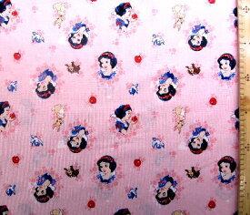 キャラクター アメリカ 輸入 生地 ディズニープリンセス ( 白雪姫 薄ピンク ) 柄番号67( 輸入 USAコットン ディズニー プリンセス )