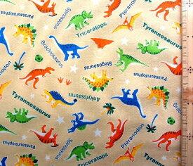 プリント生地 ファニーザウルス ( ベージュ ) ( 恐竜 きょうりゅう 怪獣 ステゴサウルス トリケラトプス カッコイイ かわいい 男の子 子供 入園 入学 )
