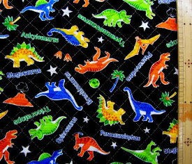 Q-プリント キルティング ( キルト ) 生地 ファニーザウルス ( 黒 ) ( 恐竜 きょうりゅう 怪獣 ステゴサウルス トリケラトプス カッコイイ 男の子 子供 入園 入学 )