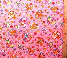 Q-プリント キルティング ( キルト ) 生地 レトロ アニマル ( ハート柄 ) ( ピンク ) ( バンビ シカ リス キノコ リンゴ イチゴ フルーツ はいから横丁 ハイカラ横丁 昭和 かわいい 可愛い おしゃれ 女の子 子供 入園 入学 )