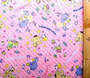 T−キャラクター 生地 サンリオ キャラクターズ ( ピンク ) 柄番号24 ( 2019 - 2020 ) シーチング ( 布 綿100% ) 生地幅−約104cm ( ケロケロけろっぴ タキシードサム ポムポムプリン )