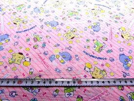 <1m カットクロス > サンリオ キャラクターズ ( ピンク ) 柄番号24 ( 2019 - 2020 ) シーチング ( 綿100% ) 生地幅−約104cm ( ケロケロけろっぴ タキシードサム ポムポムプリン )
