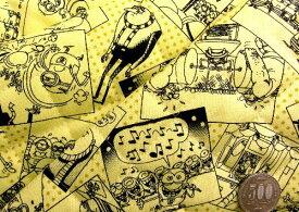 Q- キルト - キャラクター キルティング 生地 お手軽セット はぎれ 40cm 怪盗グルー ( ミニオン ) ( クリームイエロー ) 柄番号15 ( 2019 - 2020 ) キルト 生地幅−約106cm 表地−オックス ( ミニオン )