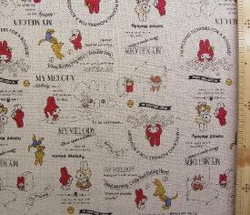 T−キャラクター 生地 マイ メロディ ( 暗生成 ) 柄番号87 ( 2020 ) 綿麻キャンバス( 布 綿80% 麻20% )生地幅−約108cm( マイメロ まいめろ マイメロディ サンリオ )
