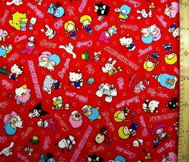 キャラクター 生地 サンリオ キャラクターズ ( 赤 ) 柄番号27 ( 2020 ) オックス ( 布 綿100% ) 生地幅−約108cm ( サンリオ キティ マイメロ キキララ パティ ジミー たー坊 ケロケロけろっぴ タキシードサム )