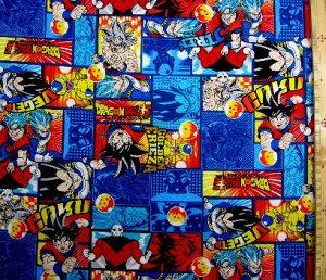 キャラクター 生地 ドラゴンボール超 ( スーパー ) ( 紺 ) 柄番号7 ( 2020 - 2021 ) オックス ( 布 綿100% ) 生地幅−約108cm