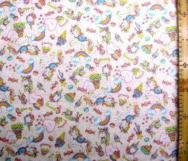 プリント生地 ユニコーン 木馬 ( 薄ベージュ ) オックス(綿100%)生地幅−約110cm ( ハート 虹 星 キャンディー スウィーツ カラフル かわいい 可愛い おしゃれ 女の子 子供 入園 入学 )