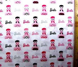 キャラクター アメリカ 輸入 生地 バービー( フェイス柄 オフ ) 柄番号2シーチング ( 綿100% ) 生地幅−約108cm USAコットン 直輸入 ( バービー Barbie )