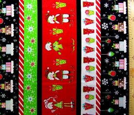 <USA生地 布 直輸入クリスマス生地>クリスマス ( 赤黒/ボーダー )