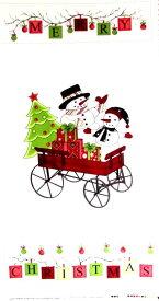 <クリスマス タペストリー USAコットン 直輸入正規ライセンス品>スノーマン ( オフ ) 【タペストリー】【生地】【布】【クリスマス生地】
