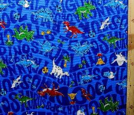 プリント生地 恐竜ランド( 青 ) オックス(綿100%)生地幅−約110cm ( 英字 恐竜 きょうりゅう 怪獣 カッコイイ おしゃれ 男の子 女の子 子供 入園 入学 )