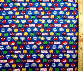 キャラクター アメリカ 輸入 生地 アメリカン コミックヒーロー マーベル キャラクター ( MARVEL )( 紺 ) 柄番号2( 2021 ) USAコットン 直輸入( キャプテン・アメリカ スパイダーマン アイアンマン アベンジャーズ ハルク ソー )