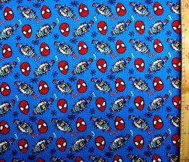 キャラクター アメリカ 輸入 生地 アメリカン コミックヒーロー スパイダーマン( MARVEL )( 青 ) 柄番号6( 2021 ) USAコットン 直輸入