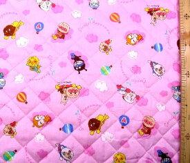<Q キャラクター キルティング生地 > アンパンマン ( ピンク ) 柄番号85 ( 2021 )キルト 生地幅−約106cm 表地−ブロード( キルト キルティング生地 布 入園 入学 )