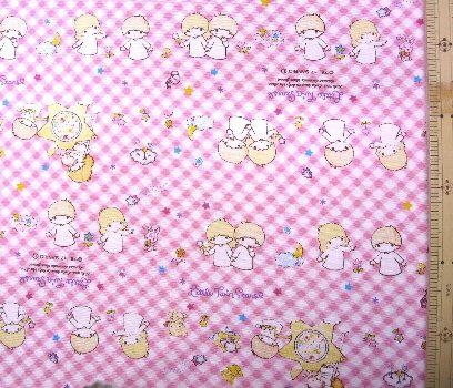 巾着袋(材料セット)・レシピ付き キキララ(ピンクチェック)#48【体操服入れ・給食袋・お弁当袋・コップ袋が各1個(合計4個)作れます】( キャラクター 生地 材料キット )【ゆうパケット(メール便)OK】